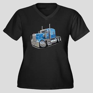 Kenworth W900 Lt Blue Truck Women's Plus Size V-Ne