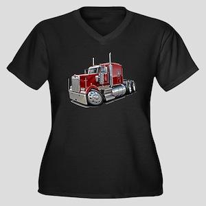 Kenworth W900 Maroon Truck Women's Plus Size V-Nec