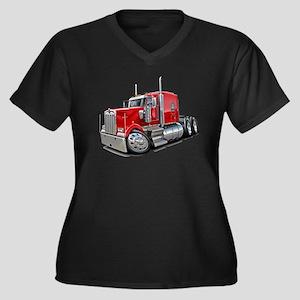 Kenworth W900 Red Truck Women's Plus Size V-Neck D