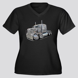 Kenworth W900 Silver Truck Women's Plus Size V-Nec