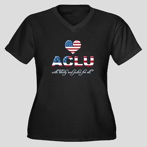 I <3 ACLU Women's Plus Size V-Neck Dark T-Shirt