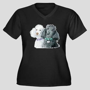 Two Poodles Women's Plus Size V-Neck Dark T-Shirt