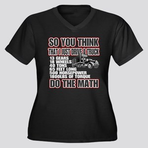 Trucker Do T Women's Plus Size V-Neck Dark T-Shirt