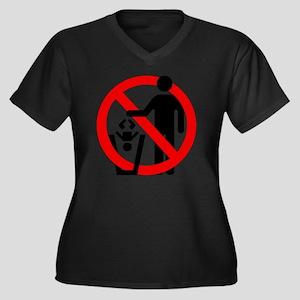 No-Trashing- Women's Plus Size Dark V-Neck T-Shirt