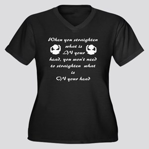 African Amer Women's Plus Size Dark V-Neck T-Shirt
