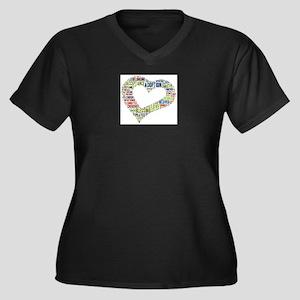 heart fulfil Women's Plus Size V-Neck Dark T-Shirt