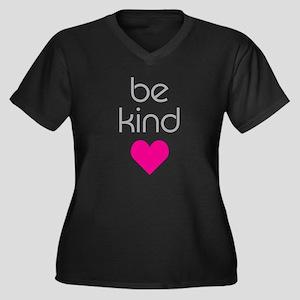 Be Kind Women's Plus Size V-Neck Dark T-Shirt