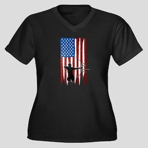 USA Flag Team Archery Women's Dark Plus Size V-Nec