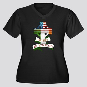 Irish American Celtic Cross Women's Plus Size V-Ne