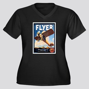 Vintage Airplane Women's Plus Size V-Neck Dark T-S
