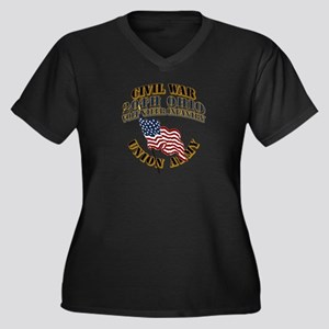 20th Ohio Vo Women's Plus Size V-Neck Dark T-Shirt