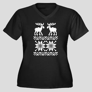 Moose Sweater Christmas Pattern Women's Plus Size