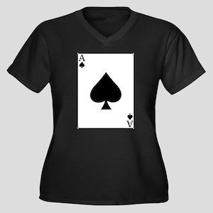 Ace Women's Plus Size V-Neck Dark T-Shirt