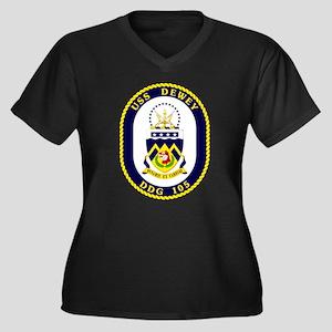 USS Dewey DD Women's Plus Size V-Neck Dark T-Shirt