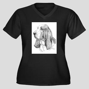 Basset Hound Women's Plus Size V-Neck Dark T-Shirt