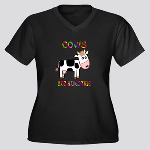 Awesome Cows Women's Plus Size V-Neck Dark T-Shirt