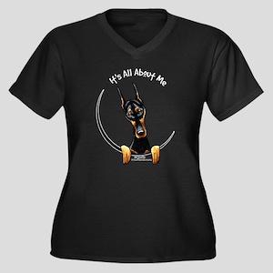 Doberman IAAM Women's Plus Size V-Neck Dark T-Shir