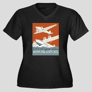 NYC airports Women's Plus Size V-Neck Dark T-Shirt