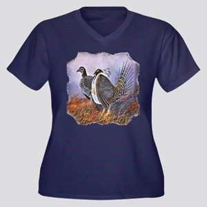 Sage Grouse Women's Plus Size V-Neck Dark T-Shirt