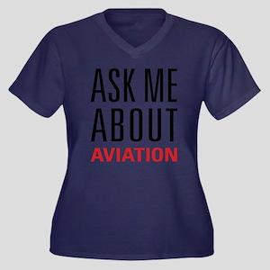 Aviation - A Women's Plus Size V-Neck Dark T-Shirt