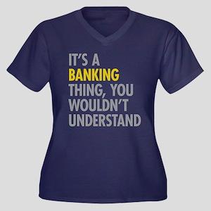 Its A Bankin Women's Plus Size V-Neck Dark T-Shirt