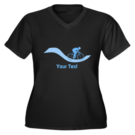 Cyclist in Blue. Custom Text. Plus Size T-Shirt