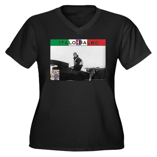 Italo Balbo Women's Plus Size V-Neck Dark T-Shirt