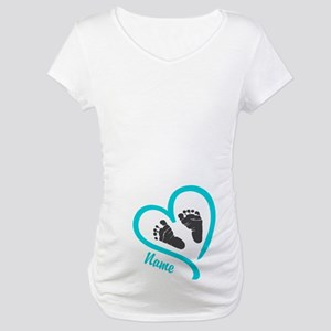 Baby Heart Blue Personalized Maternity T-Shirt