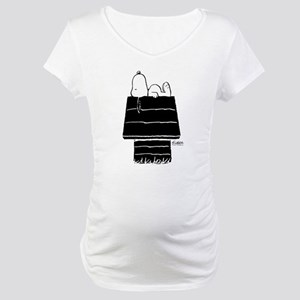Snoopy on House Black and White Maternity T-Shirt