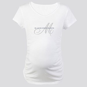 Elegant Name and Monogram Maternity T-Shirt