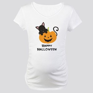 Happy Halloween Cat Maternity T-Shirt