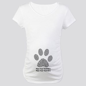 Dog Paw Print Personalized Maternity T-Shirt