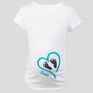 0f69dfb4e0bda Baby Heart Blue Personalized Maternity T-Shirt