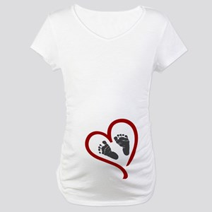 Baby Heart Feet Red Maternity T-Shirt
