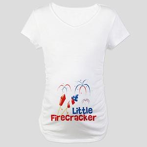 95528d2a2f6cd 4th of July Little Firecracker Maternity T-Shirt