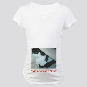 0cca68bfe2cc3 Black and White Longhaired Cat Maternity T-Shirt