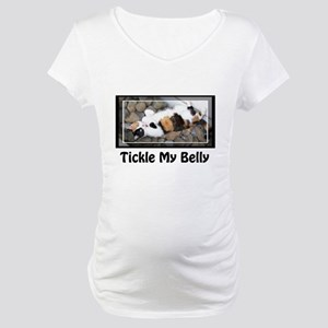 Tickle my Belly Calico Cat Maternity T-Shirt