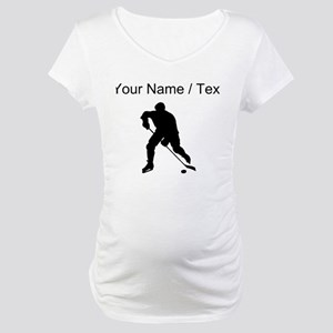 Custom Hockey Player Silhouette Maternity T-Shirt