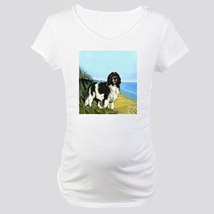 landseer on the beach Maternity T-Shirt