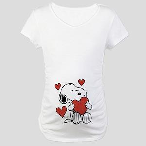 Snoopy on Heart Maternity T-Shirt