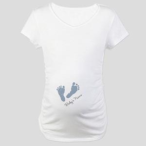 Baby Blue Footprints Maternity T-Shirt