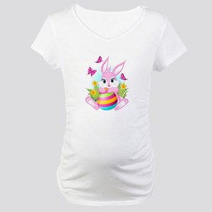 Pink Easter Bunny Maternity T-Shirt
