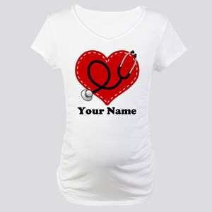 Personalized Nurse Heart Maternity T-Shirt