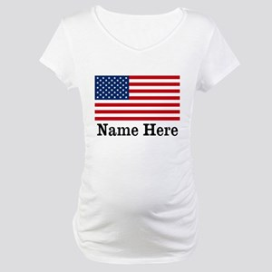 Personalized American Flag Maternity T-Shirt