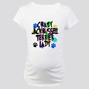 Crazy Jack Russell Terrier Lady Maternity T-Shirt