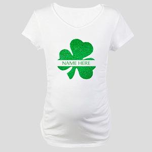 Custom Name Shamrock Maternity T-Shirt
