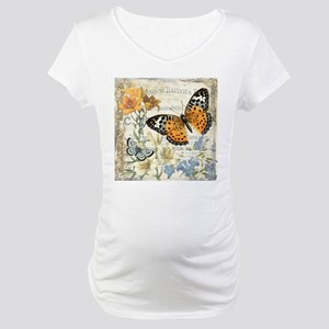 modern vintage butterfly Maternity T-Shirt