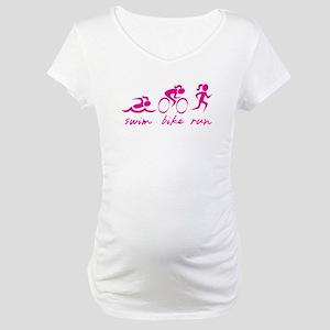 Swim Bike Run (Girl) Maternity T-Shirt
