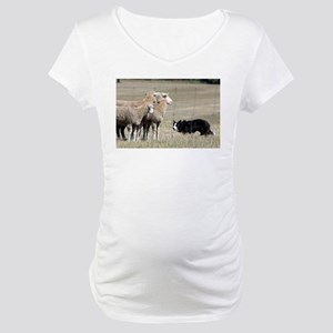 border collie working Maternity T-Shirt