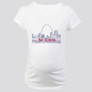 StLouis_Downtown_Rect_BlueRed Maternity T-Shirt
